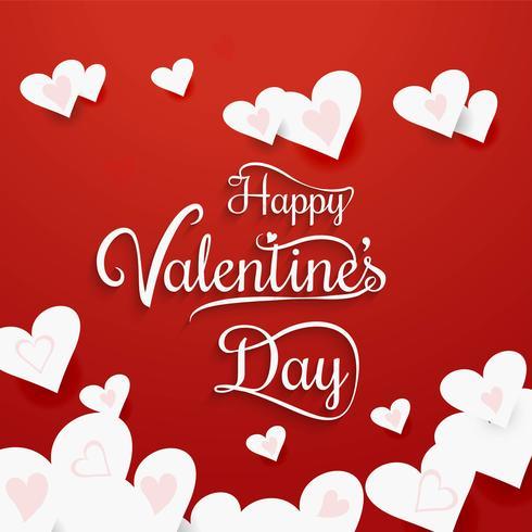 Vetor de fundo de cartão de corações de dia dos namorados