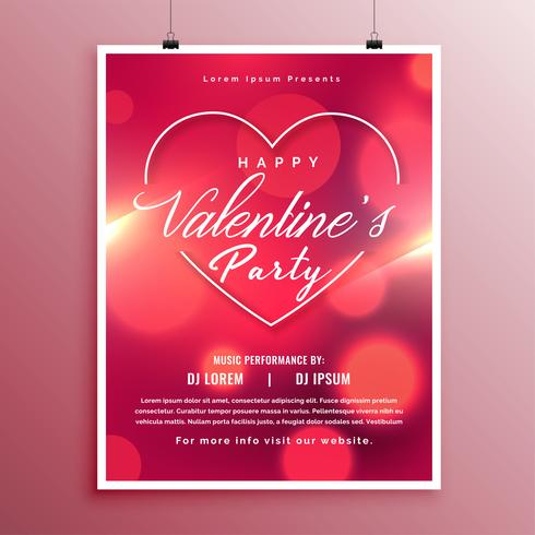 valentines day party event flyer template design