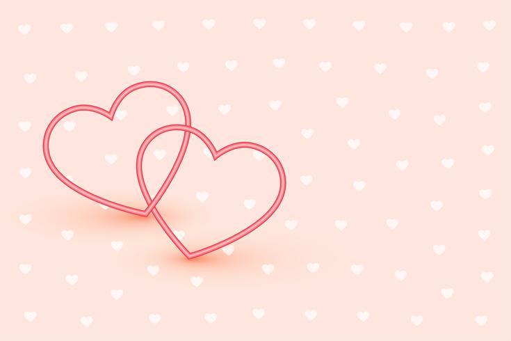 Elegantes corazones de dos líneas sobre fondo rosa suave