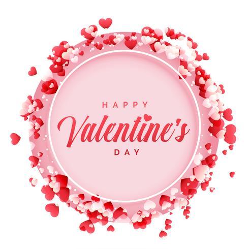 Happy Valentines Day Frame mit Herz Hintergrund