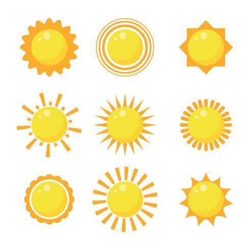 Insieme di clipart di Sun Design piatto vettore