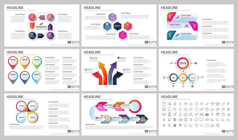 Moderne Elemente von Infografiken für Präsentationsvorlagen