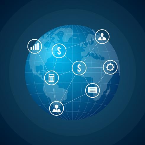 Global Company Network Vector Illustration