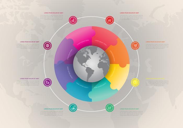 Internationale multinationale moderne Geschäftsinfografik