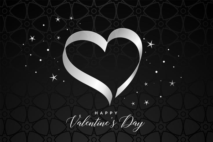 schwarzer Hintergrund mit Band Herzen zum Valentinstag