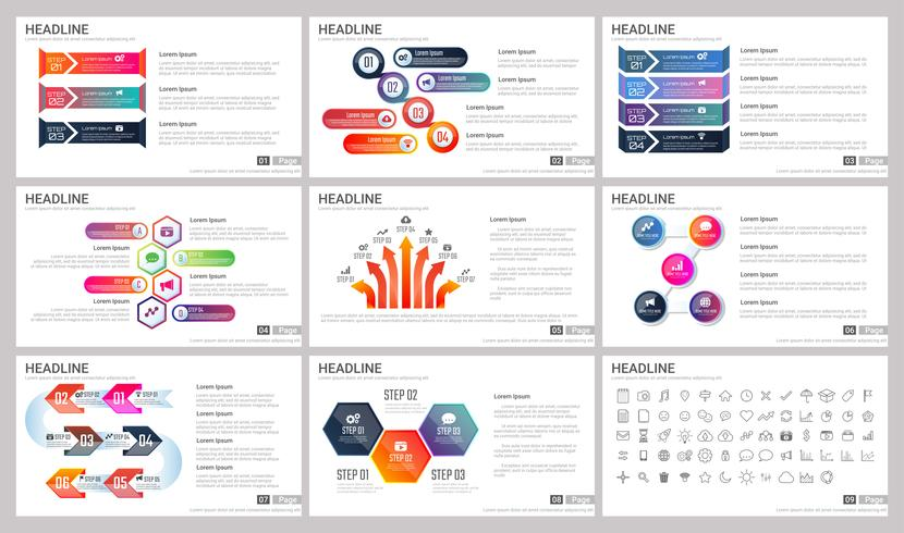 Elementos modernos de infografías para plantillas de presentaciones.