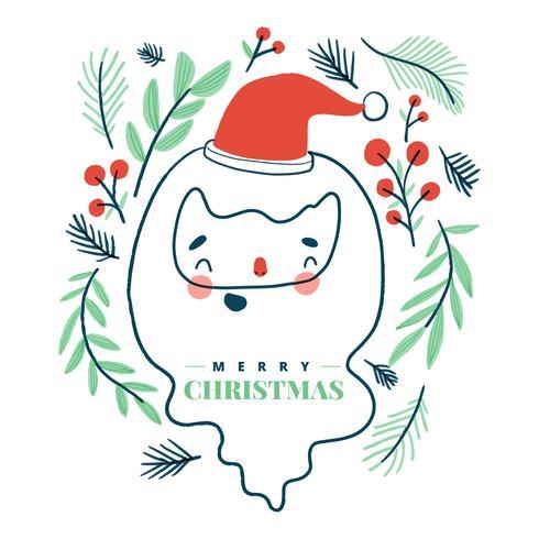 Nette Santa Claus, die mit Blättern herum lächelt.