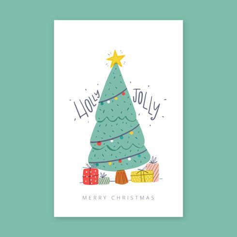 Kerstkaart met boom en geschenken.