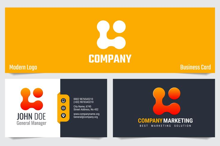 Modern business card Vector template design