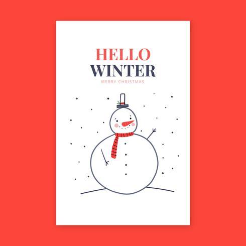 Gulligt snögubbe leende kort