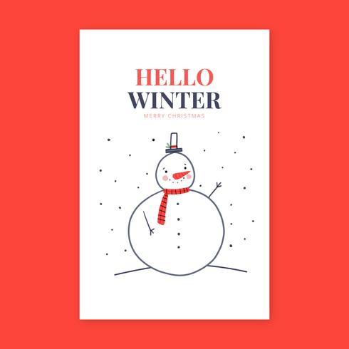 Leuke sneeuwman lachende kaart vector