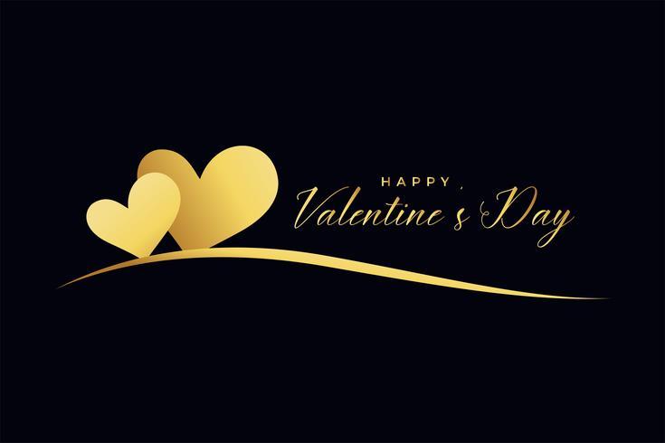 Dos corazones de oro sobre fondo negro para el día de San Valentín