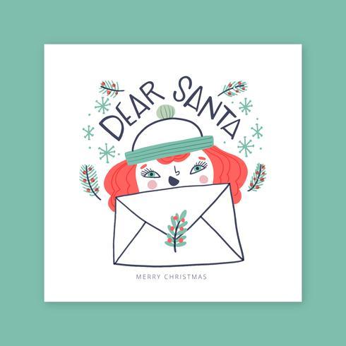 Christmas Card with Ginger Girl for Santa