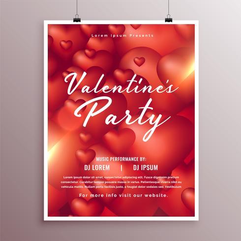 elegante Valentijnsdag deel viering flyer ontwerpsjabloon