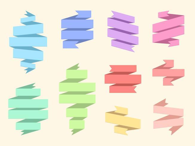 Flaches Origami-Band-Fahnenset