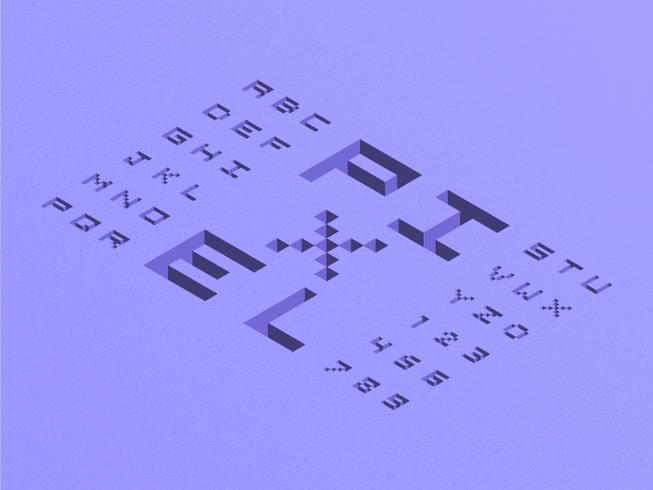 Alfabeto isométrico del pixel 3D vector