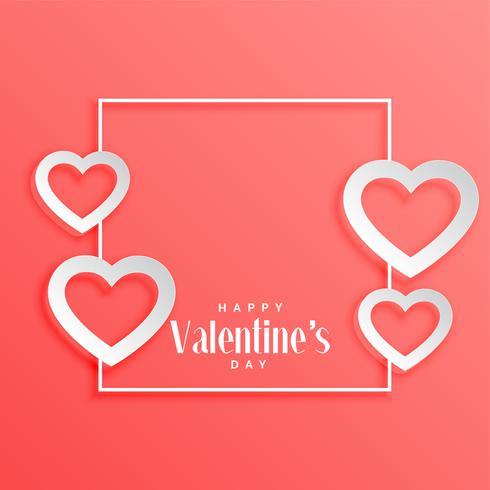 marco del día de San Valentín con fondo de corazones