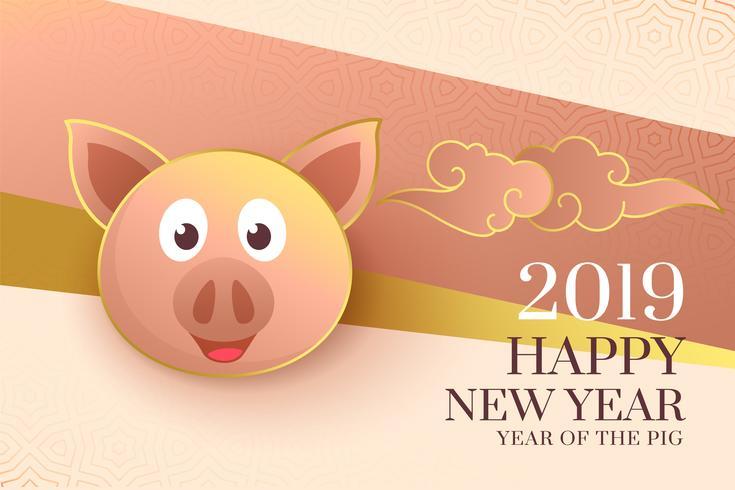 2019 glückliches chinesisches neues Jahr des eleganten Hintergrundes des Schweins