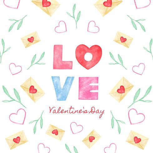 Lettrage mignon sur l'amour avec lettre d'amour, feuilles et coeur. vecteur