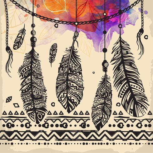 Weinlese versieht ethnisches Muster mit Federn, Stammes- Design, Tätowierung mit Federn