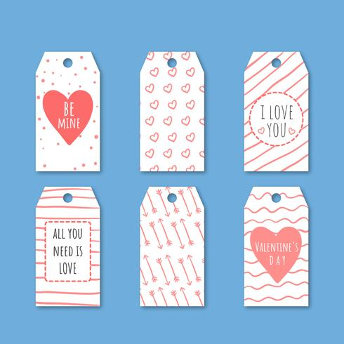 Cute Valentine's Labels Collection With Hearts And Arrows.