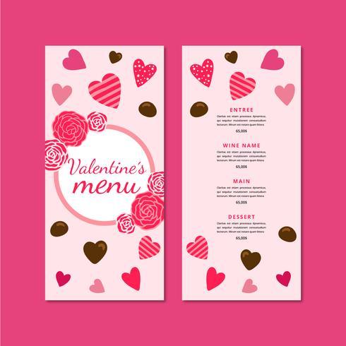 Adorável Menu De Dia Dos Namorados Com Corações E Chocolates vetor