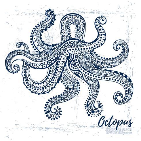 Vectortekeningsoctopus met etnische patronen van Aboriginal Australië.