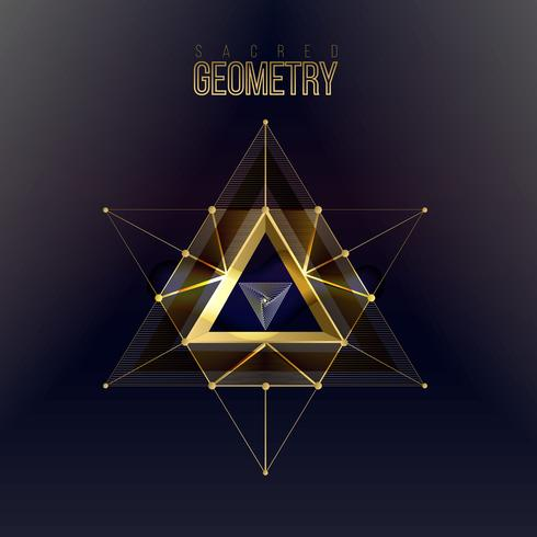 Sacred geometry isolated gold shapes on dark color background