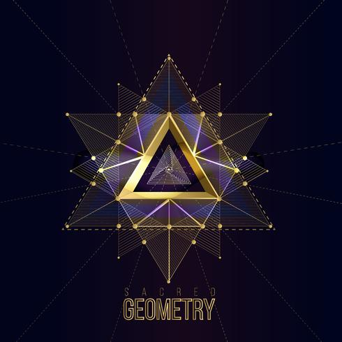 Heilige Geometrie lokalisierte Goldformen auf dunklem Farbhintergrund vektor