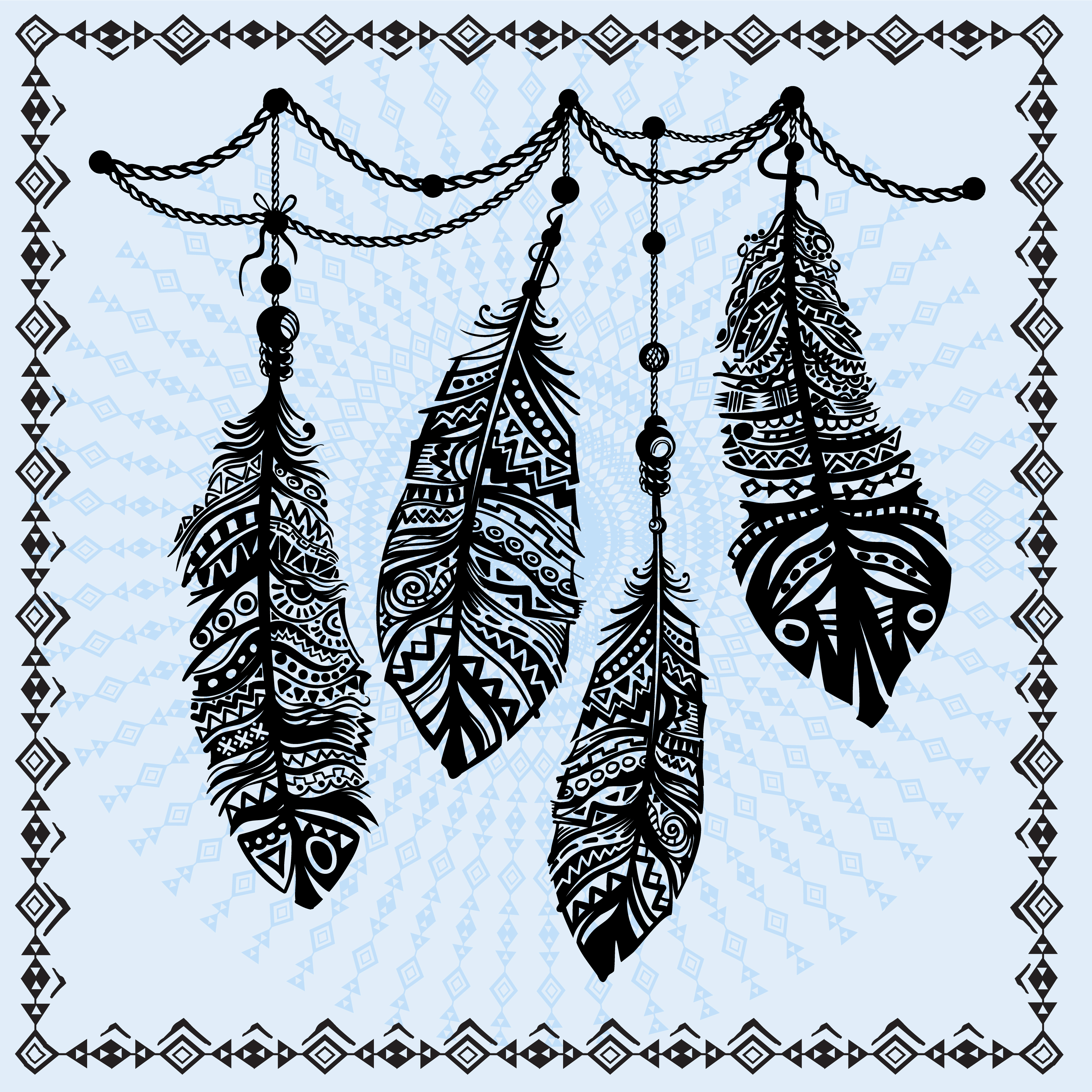 Vintage feathers ethnic pattern