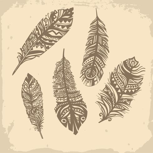 Vintage feathers ethnic pattern, tribal design, tattoo vector