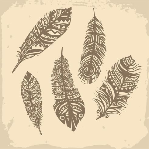 Patrón étnico de plumas vintage, diseño tribal, tatuaje vector