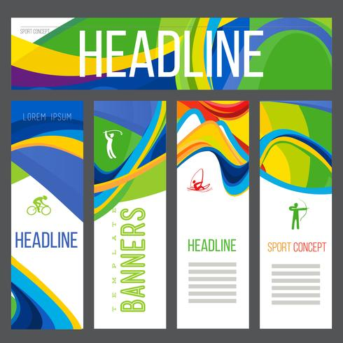 Composição de banner de um ondulado de bandas com cores diferentes entrelaçadas