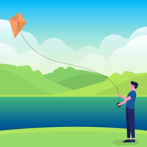 Boy Playing Kite Vector Illustration