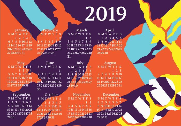 Calendario imprimible 2019 vector