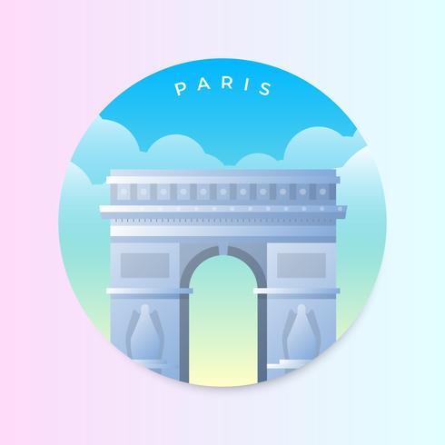 Arc de Triomphe nell'illustrazione di vettore di Parigi