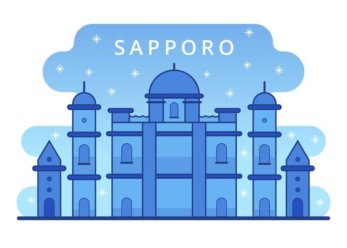 Vetor de neve de inverno de Marco de Sapporo