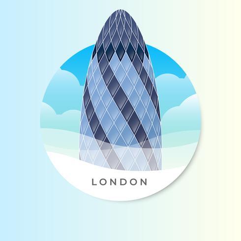 Das Essiggurke-Gebäude in der London-Vektor-Illustration