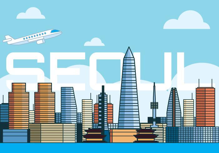 Skyline van de stad Seoul vector