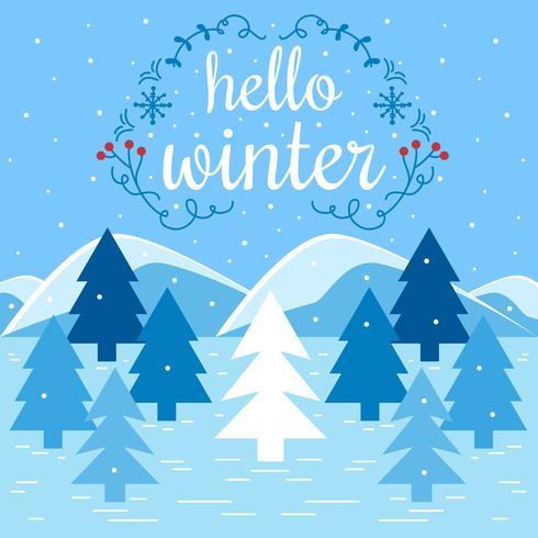 Hej Vinter Vektor Illustration