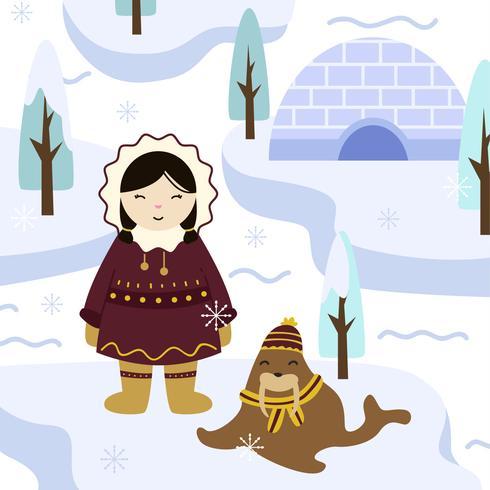 Eskimos-Mädchen im traditionellen Kleidungs-Vektor