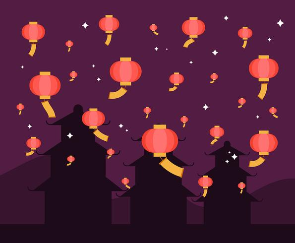 Ilustração de lanterna do céu de Taiwan