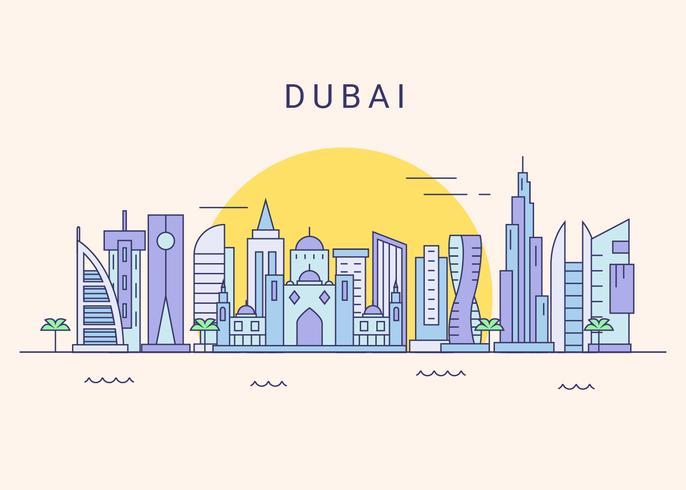 Vector de horizonte de la ciudad de Dubai