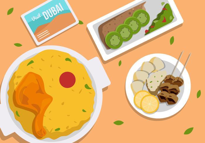 Ilustración de vector de comida de la calle de Dubai