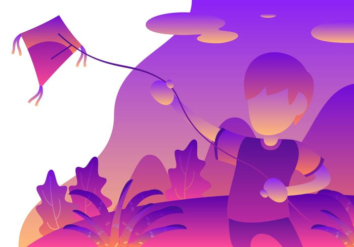 Jongeren die een Vlieger in de Werfvector spelen
