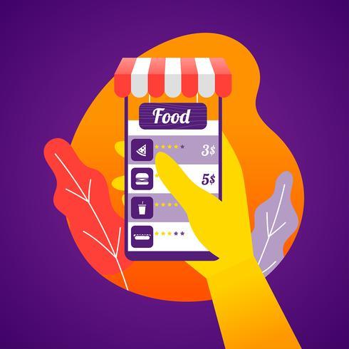 Online voedsel bestellen Close-up hoek Vector