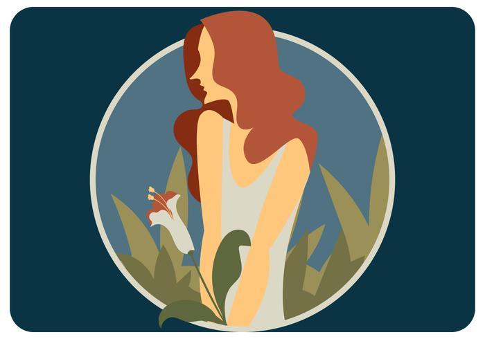 Garota de cabelo vermelho com vetor de flor branca