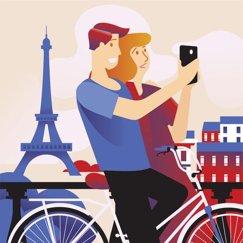 Happy Couple Selfie by Smart Phone in Paris with Eiffel Tower