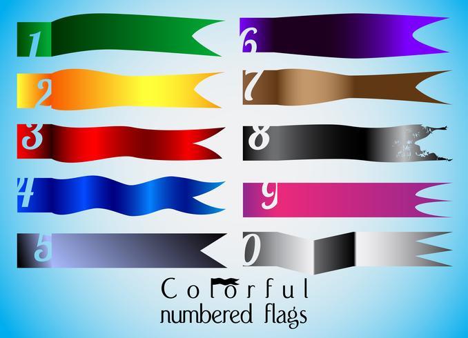 Tien kleurrijke genummerde vlagreeks