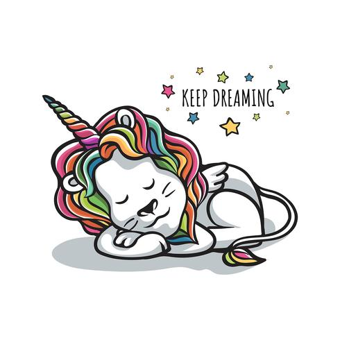 Lion Sleep Dreaming Wannabe Unicorn
